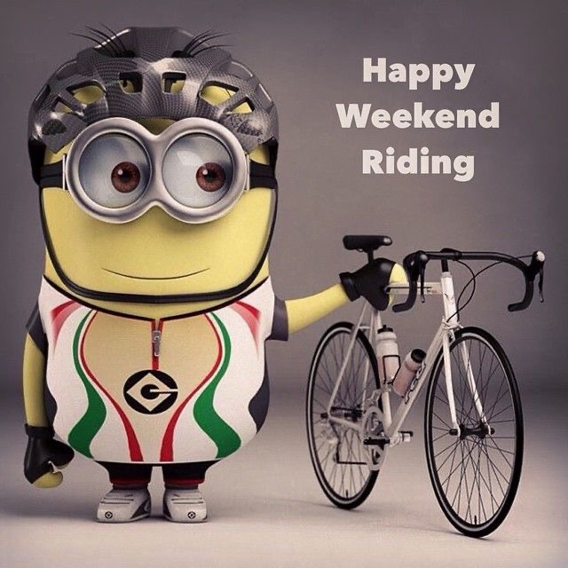 Cycling Fun Minion happy weekend riding