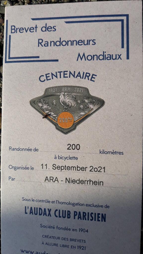 Brevet ARA Niederrhein Twisteden Mühlentour Karte