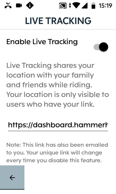 Karoo Live Tracking Settings